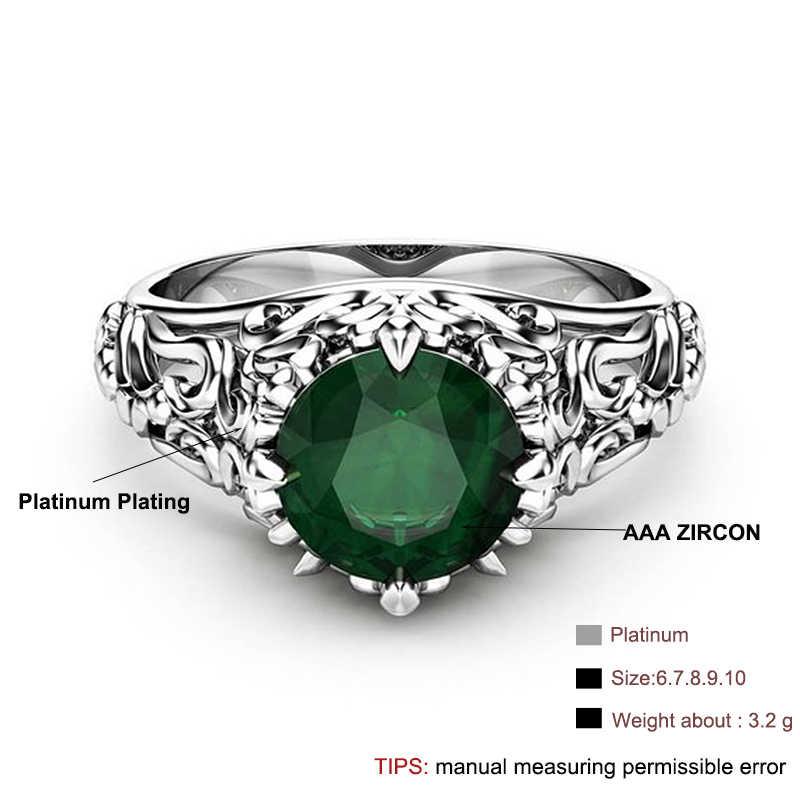 Bague de mariage gothique en cristal vert zircon cubique avec couleur argent blanc CZ anneaux en pierre pour femmes bijoux de fête cadeau anillos
