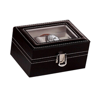 Professional Jewelry Display Case PU Leather Box 3 Grid Slots Watch Display Storage Organizer Container With