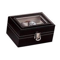Profesional Caja de Exhibición de La Joyería Caja de Cuero de LA PU de 3 Ranuras de Rejilla Reloj Display caja de Almacenamiento Organizador Contenedor Con Bloqueo SL