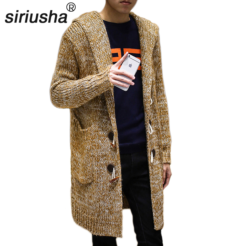 S37 Plus Size Autumn and Winter Sweater Male Small Fresh Design Cardigan Long Thick Loose Sweater