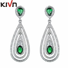KIVN Fashion Jewelry Dangle CZ Cubic Zirconia Bridal Wedding Earrings for Womens Girls Christmas Mother Promotion Birthday Gifts