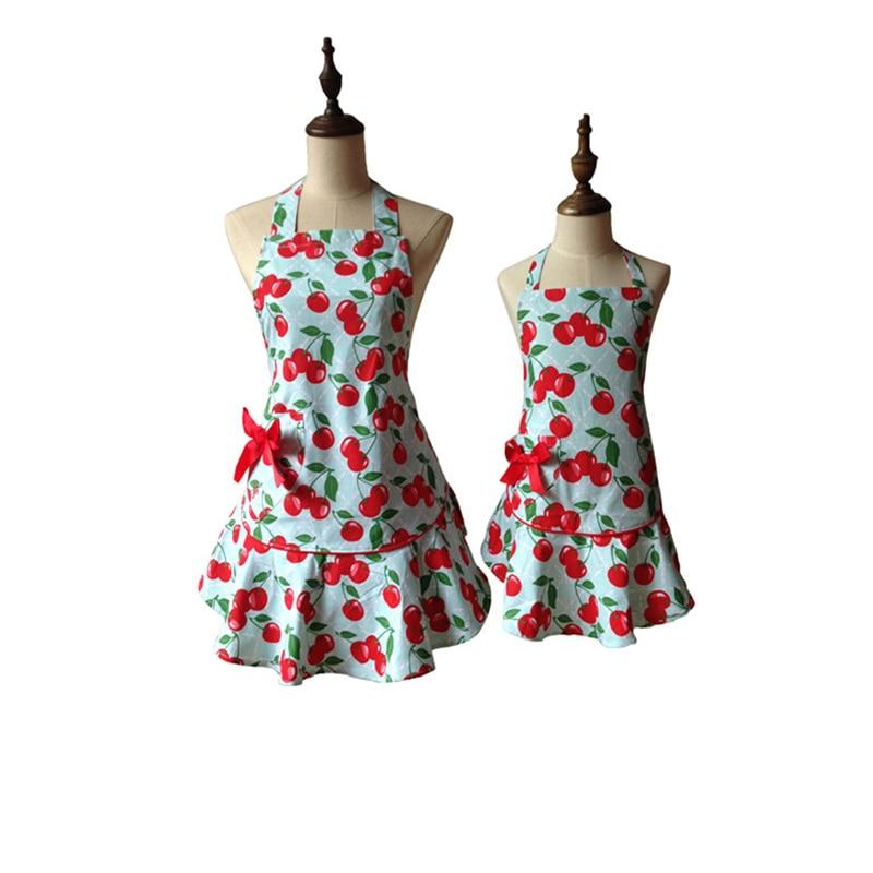 JS Rojo Floral Azul Courtney Cereza Delantal de cocina Niño Niña Mujer Avental Tablier Cuisine Pinafore Delantal