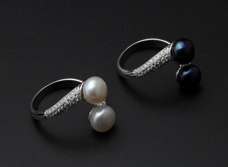 HTB1ug edPgy uJjSZKzq6z jXXa5 Real 925 Sterling Silver Double Pearl Rings Women, AAA Cubic Zircon Fashion Jewelry Vintage Wedding Rings Gift Black Adjustable