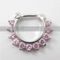 Nose Ring Fashion Body Jewelry Nose Stud 316L Stainless Surgical Steel Septum Clicker Nose Ring CZ