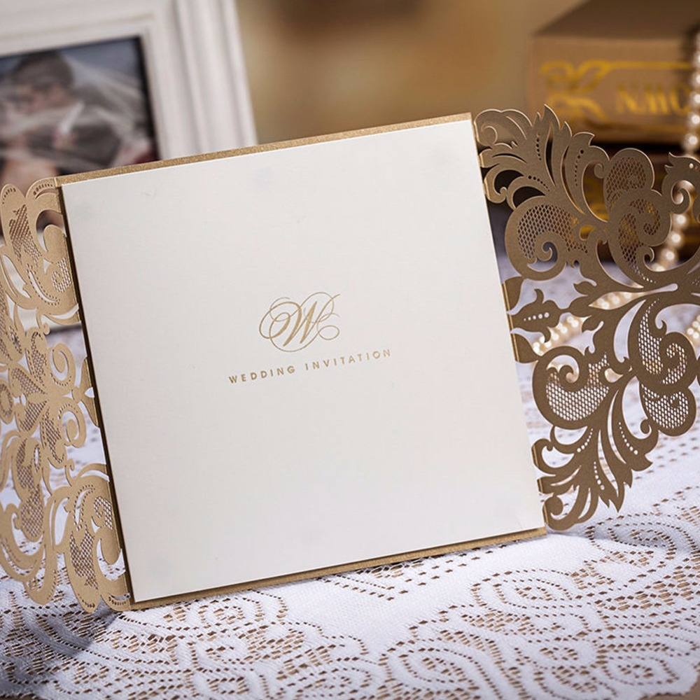 50pcs/lot Laser Cut Wedding Invitations Cards Envelope Vintage ...