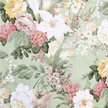 100% хлопок саржа элегантный зеленый большой Роза Лилия букет цветов цветочные ткань для DIY постельные принадлежности одежда платье фартук ручной работы Текстиль