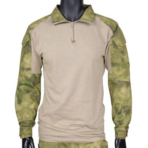 Longa dos Homens de Caça Camisa com Almofadas Militar Tático Camisa Manga Paintball Airsoft Exército Bdu Combate Cotovelo A-tacs fg Cqc Gen2