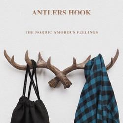 European Retro Style Antlers Decorated Wall Hanging Coat Hook Clothing Coat Sundries Tools Hanger Wall Mounts Room Shelf Racks