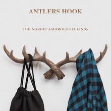European Retro Style Antlers Decorated Wall Hanging Coat Hook Wood Coat SundriesTools Hanger Wall Mounts Room Shelf Racks