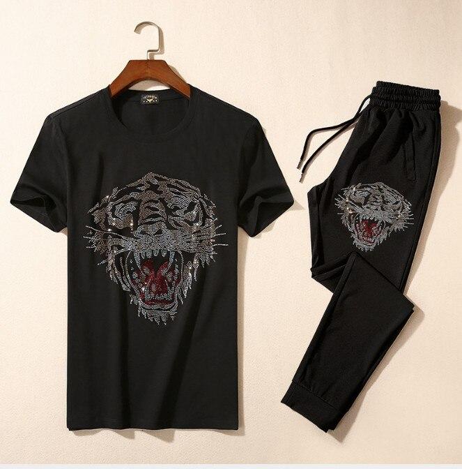 Brand New Novelty Hot diamond Tiger geit Mannen Running Sportkleding Trainingspakken mannen Sets (t shirt + broek) top TEES # L113