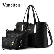 3 PCS/Set Women Bag Weave Pattern Handbag Fashion High Quality PU Leather Tote Clutch Bag Ladies Shoulder Bag Messenger Bags