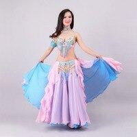 Size S XL Performance Women Dancewear Professional 3pcs Outfit Bra Belt Skirt Long Oriental Beaded Belly
