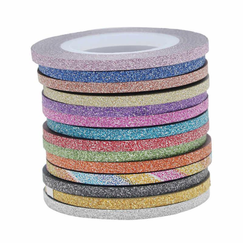 ใหม่ 1MM 12 สีเล็บGlitter Stripingเทปชุดสติกเกอร์ศิลปะตกแต่งDIYเคล็ดลับสำหรับเล็บเจลRhinestones decoratร้อน