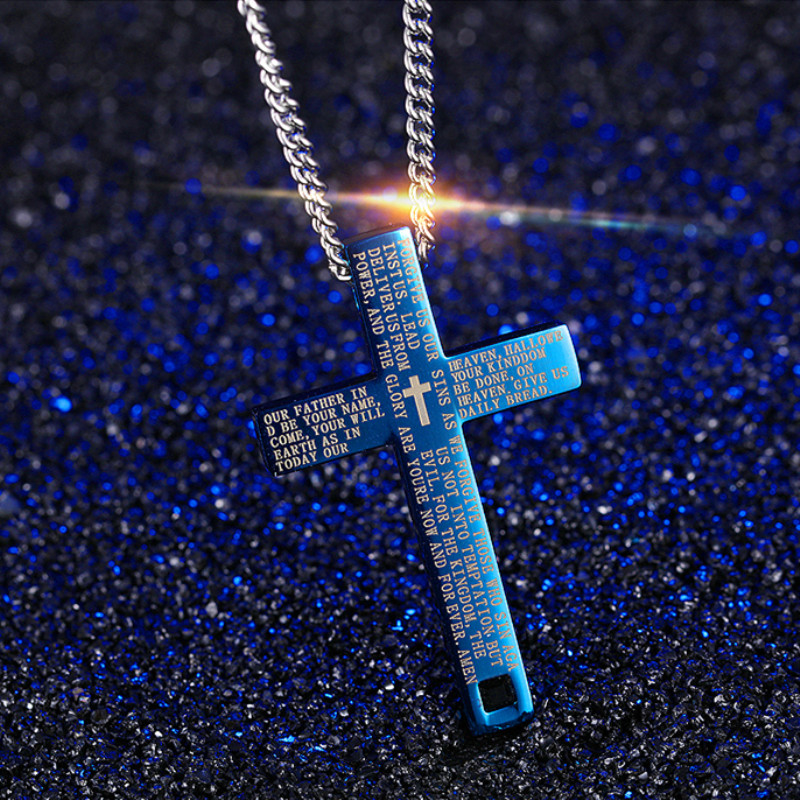 D&Z Religious Jesus Bible Cross Pendant Men Silver Chain Stainless Steel Trendy Pray Charm Blue Necklaces Pendants Jewelry Gifts
