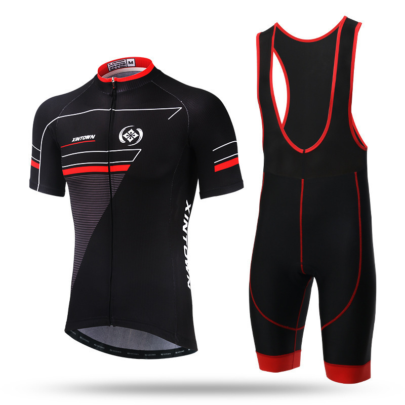 XINTOWN Black Red Short Sleeve Ropa Ciclismo Maillot Tights Bike Cycling Jerseys Sets Men Bicycle T-shirts Gel Padded Bib Short polyester summer breathable cycling jerseys pro team italia short sleeve bike clothing mtb ropa ciclismo bicycle maillot gel pad