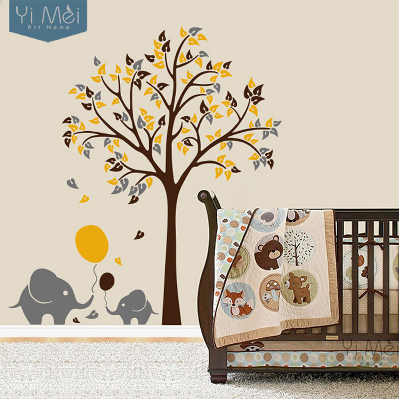 Elephant balloon tree for kid living room nursery wall decal sticker wallpaper mural bedroom home decoration 175x190cm christmas in wall stickers from home