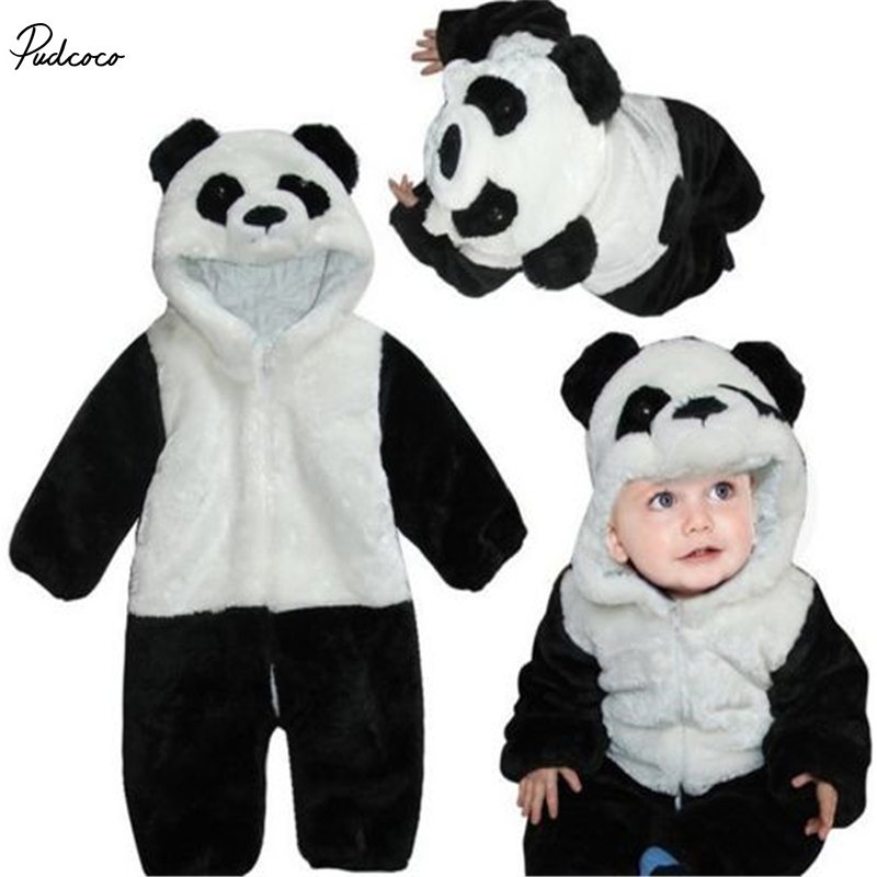 2017 New Kids Baby Rompers Animal Panda Long Sleeve Warm Winter Costume  Climbing Pajamas Romper Jumpsuit Coverall warm thicken baby rompers long sleeve organic cotton autumn