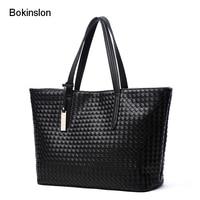 Bokinslon Woman Woven Shoulder Bags PU Leather Creative Women Handbags Large Capacity Simple Female Handbags Bags