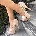 Zapatos SHOFOO. Elegante nuevo párrafo envío libre, cuero beige, 14.5 cm zapatos de tacón alto, bombas peep toe. TAMAÑO: 34-45