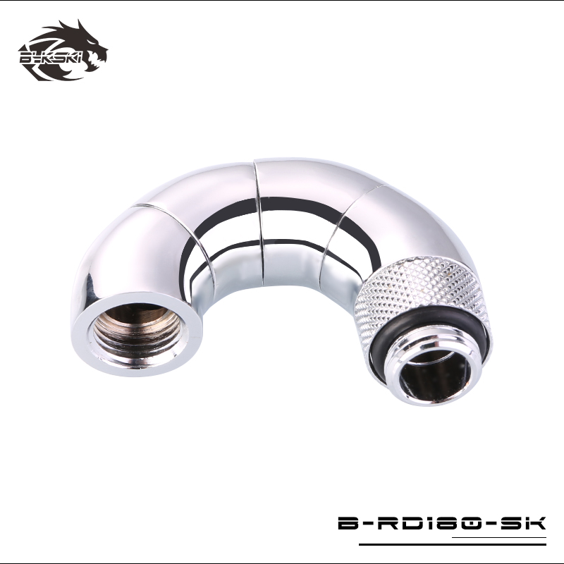 BYKSKI G1/4'' Thread 180 Degree Rotary Fitting Adapter Rotating 180 degrees water cooling Metal Adaptors B-RD180-SK bykski g1 4 90 degree rotary fitting extend 15 20 25 30 35 40mm water cooling adaptors color black silver b rd90 exj