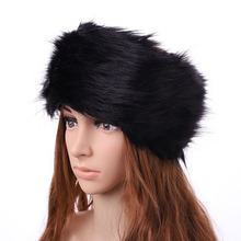 Fur Hat For Women Natural Tick Fluffy Fur Hat Headband Russi