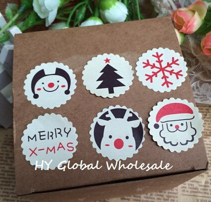 120PCS/Lot Merry Christmas Theme Sealing Sticker DIY Gifts Posted Baking Decoration Package Label Multifunction