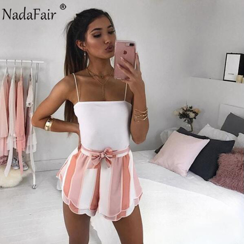 Nadafair Drawstring Striped Casual Summer   Shorts   Women Double Layer Bow Print   Shorts