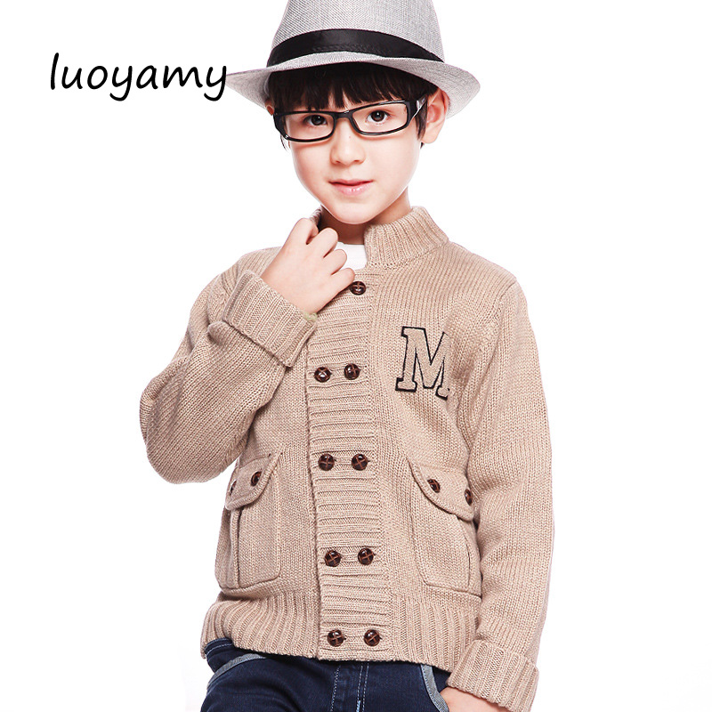 luoyamy Boys Spring Cable Knit Sweater Cardigans Winter Thicken Kids Knitwear Coats Turn-Down Collar Children's Jackets slim fit cable knit turtleneck sweater