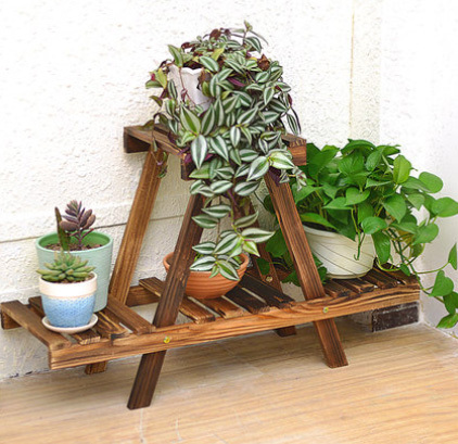 Free Shipping Two Layers Wood Flower Wooden Storage Rack Shelf Garden Pot Holder Home Decoration