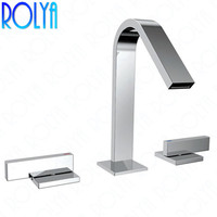 Rolya Widespread Lavatory Bathroom Faucet 3 Holes Deck Mounted 8 inch Basin Faucet Mixer Taps