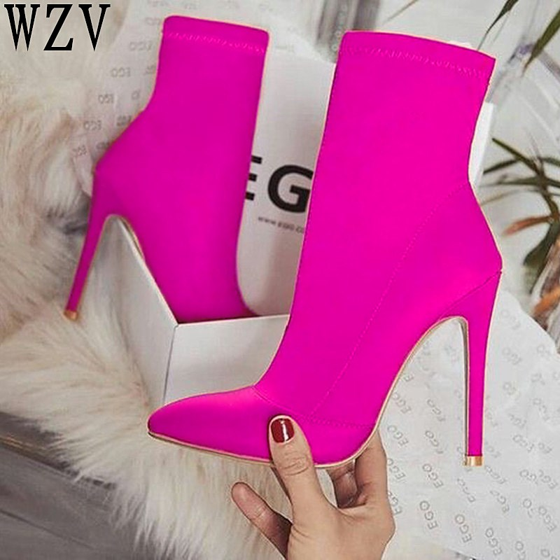 INS Hot EGO Carson Plus size43 Pointed Toe Stilettos High Heel Shoes Woman Boots Mixed Color Carda Elsie Bootie Chesta Red Black