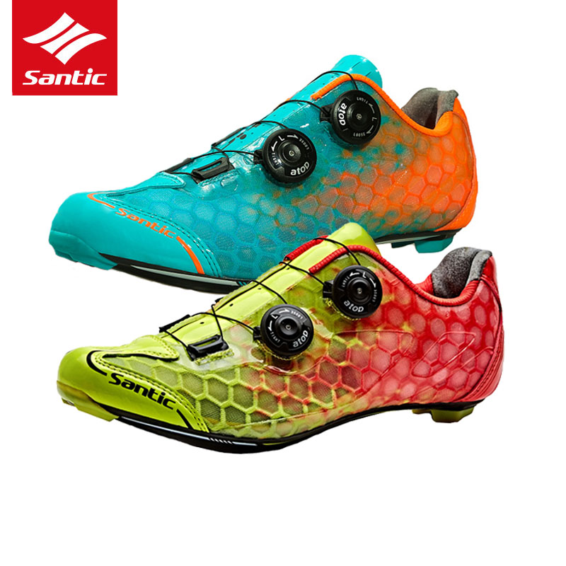 Santic Cycling Shoes Pro Racing Team Top Road Bike Shoes Carbon Fiber Ultralight Self-locking Bicycle Shoes Zapatillas Ciclismo santic road cycling shoes pro carbon fiber road bike shoes ultralight athletics self locking bicycle shoes zapatillas ciclismo
