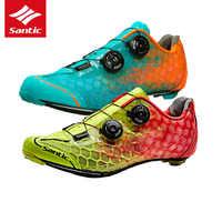 Santic Radfahren Schuhe Pro Racing Team Top Rennrad Schuhe Carbonfaser-ultraleicht-aufblasbare selbstsichernde Fahrrad Schuhe Zapatillas Ciclismo
