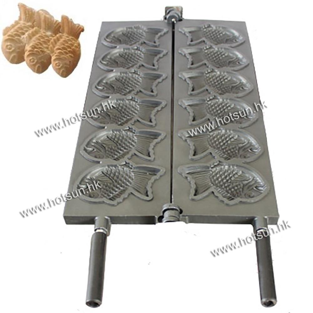 Japanese Fish Cake Taiyaki Mold Plate Pan Iron for 6pcs Fish high quality automatic gas taiyaki fish cake making machines