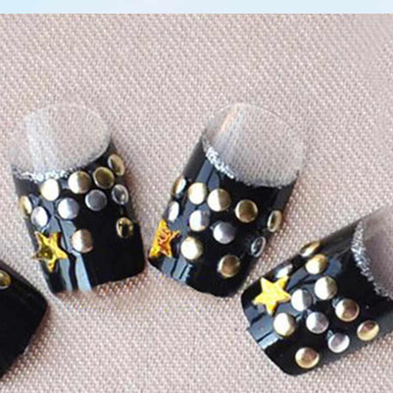 2018熱い販売パンクリベットネイルアートデコレーションステッカーメタリックゴールドスタッズネイルのヒントdiy爪accessoiresマニキュア