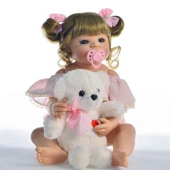 57cm Full Silicone Body Vinyl Reborn Girl Lifelike Baby Doll Newborn Princess Toddler Toy Bonecas modeling  Birthday Gift