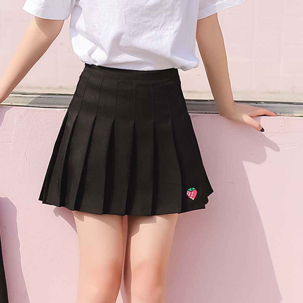 Women Skirt Ladies Jupe Femme Casual Black S-2XL 2019 New Wild Pleated Strawberry Solid Natural Polyester Mini Summer Skirt Z4