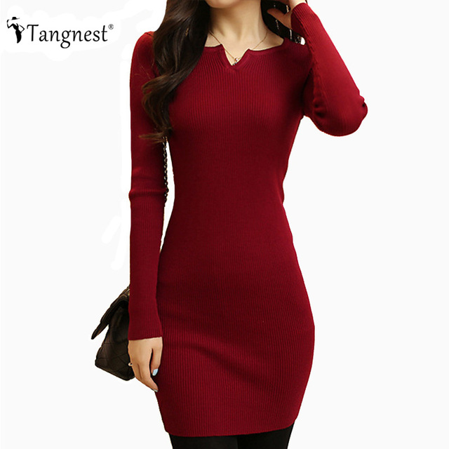 TANGNEST Women Sexy Sweater Dress 2017 Autumn Winter Fashion V Neck Bodycon Basic Mini Solid Color Knitted Dress WZQ208