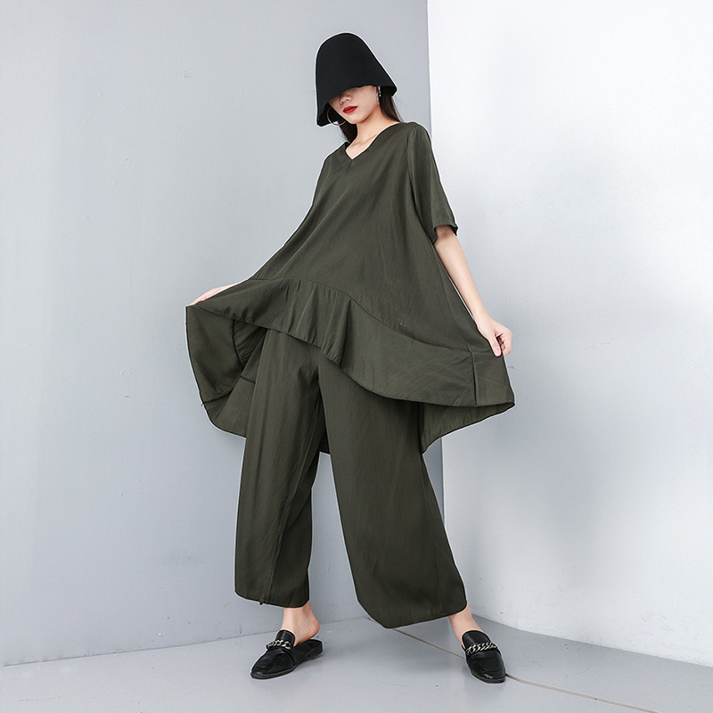 Johnature 2020 Summer New Solid Color Plus Size Casual Two Pieces Sets V-neck Long Ruffles Top Elastic Waist Wide Leg Pants Sets