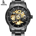 IK Golden black Luxury Watch Mens Automatic Skeleton Mechanical Wristwatches Fashion Casual Stainless Steel Relogio Masculino
