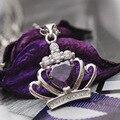 Бесплатная Доставка 925 Серебряных ювелирных изделий Колье подвески Цепи, 925 серебряное ожерелье AAA Хрустальная корона подвеска RJ155