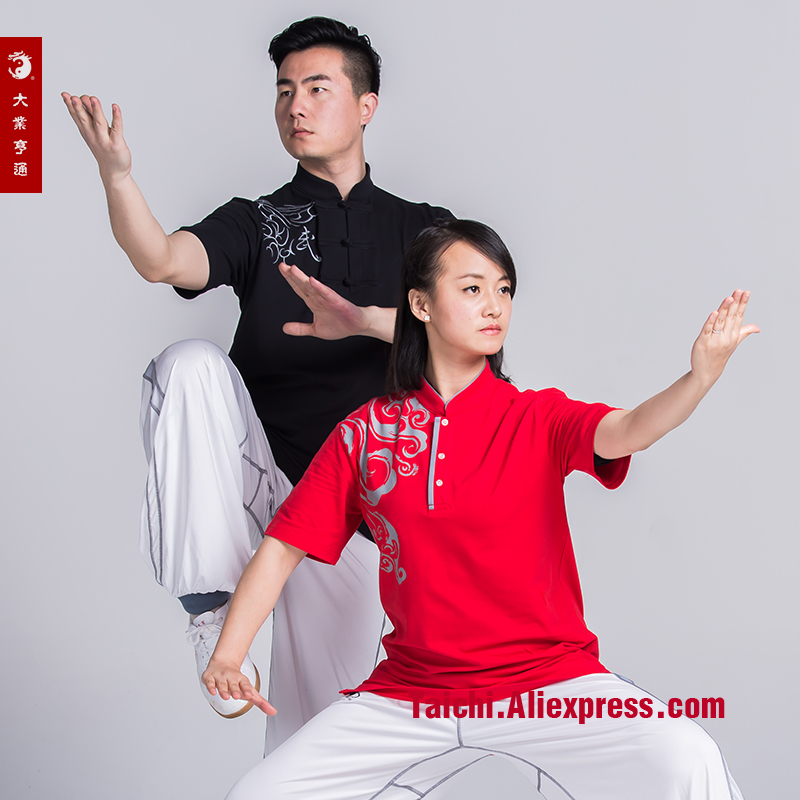Cotten Tai Chi T Shirt Embroidery  Martial Art Short Sleeve Top Chinese Style T-shirt
