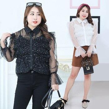 Spring Women Black White Plus Size Mesh Top Tee Two Kits Long Sleeve Women Shirts Lady Sheer Oversized Women Blouses        Y169