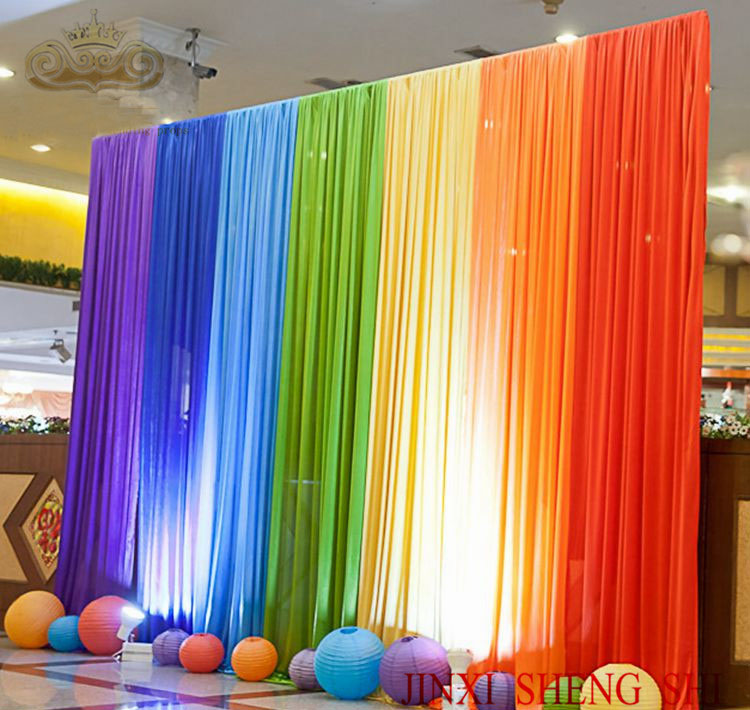 Free Shipping 6x3m Rainbow Colors Ice Silk Wedding