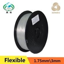 Natural color flexible strong Elastic TPE 3D 1.75 printing filament for industrial / desk printer free shipment