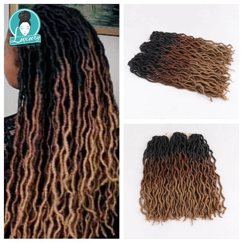 Luxury For Braiding Synthetic Faux Locs Curly Crochet Hair 24Strands Ombre Blond Crochet Braids 20inch 50cm