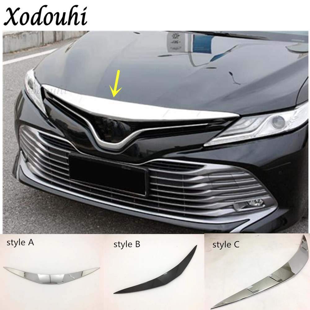 For Toyota Camry XV70 2018 2019 car cover ABS chrome panel front engine Machine racing grill grille hood stick lid trim 1pcs car styling 1pcs stainless steel chrome front grille front and rear decorative fine barbecue season 2012 2013 for toyota camry