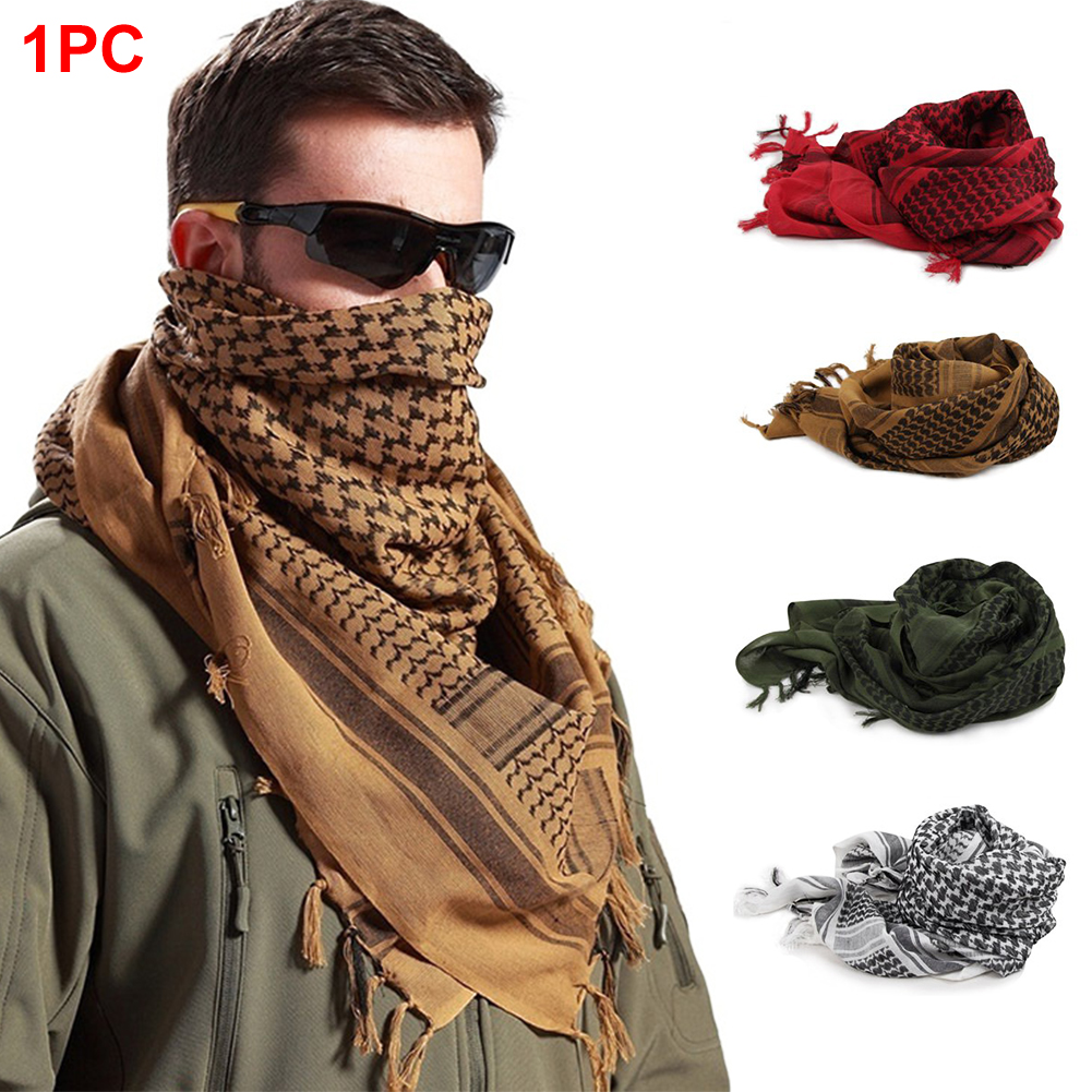 Camping Muslim Cycling Travel Face Veil Tassel Ends Outdoor Scarf Shawl Hiking Men Women Neck Wrap Cover