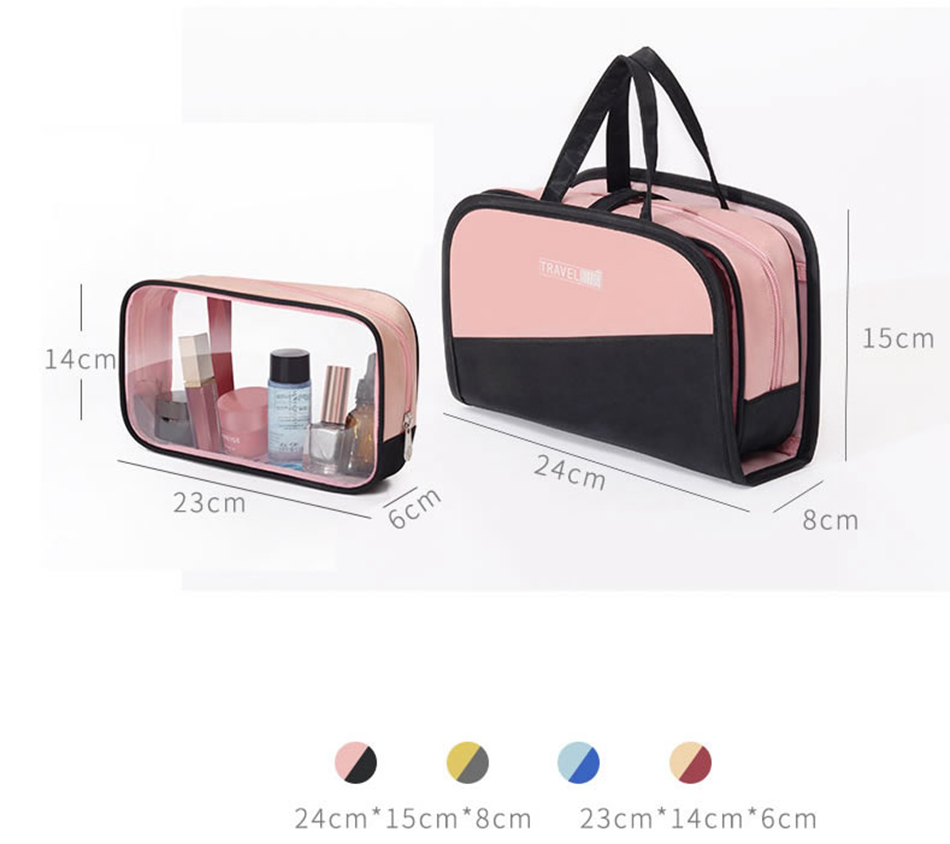 Fashion Women Travel Cosmetic Bag Double Layer Beauty Zipper Makeup Case Pouch Toiletry Organizer Holder Wash Bag Make Up Bag