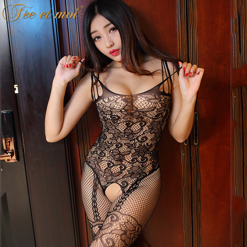 Feeetmoi Black Fishnet Sexy Body Stocking Open Crotch -5445